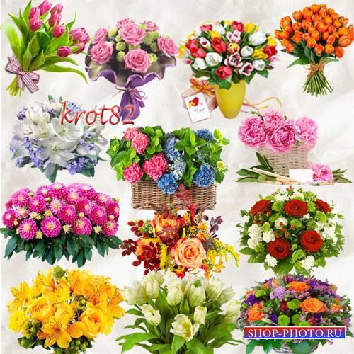 Подборка клипарта букетов цветов  на прозрачном фоне – Такие разные цветы