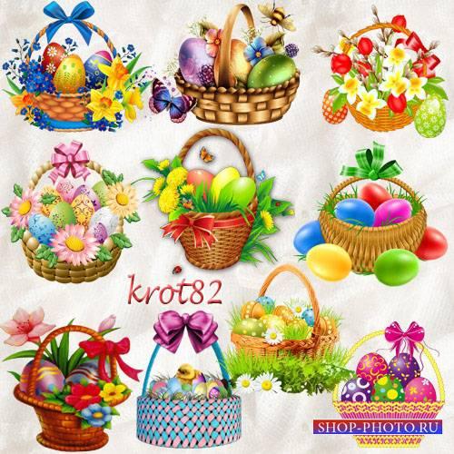 Подборка клипарта к пасхе – Пасхальные корзины с яйцами