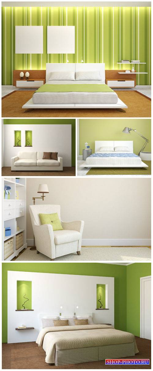 Interior in white and green colors - stock photos
