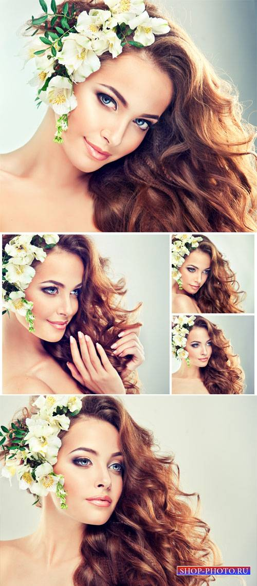Girl with white flowers in her hair - stock photos
