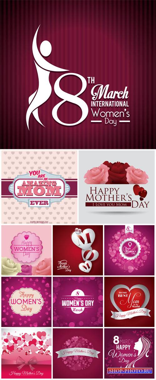 Women's Day on March 8, vector backgrounds