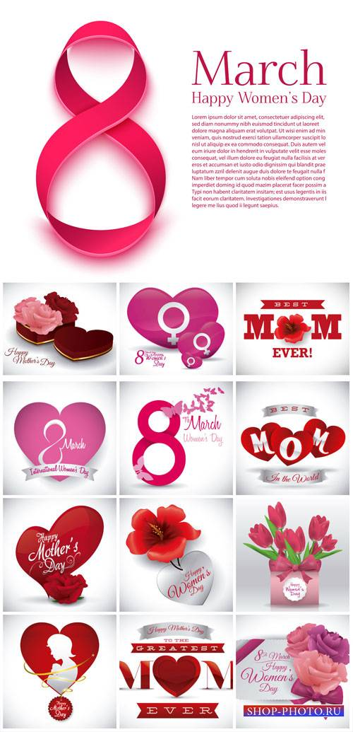 Women's Day on March 8, flowers, vector backgrounds