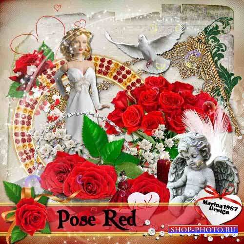 Романтический скрап-набор - Красная роза