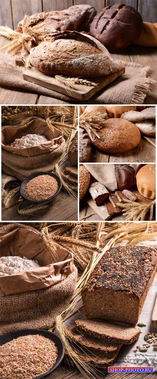 Fresh bread, flour, spikelets - stock photos