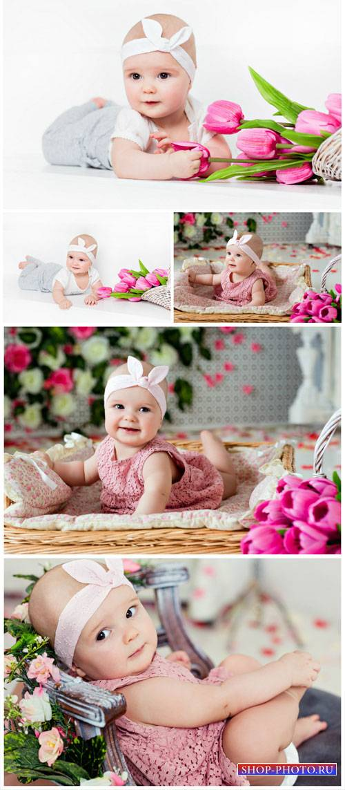 Little kid with tulips - stock photos