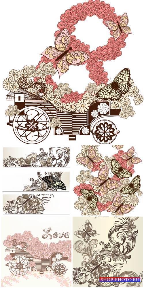 Vector flowers and butterflies, design elements