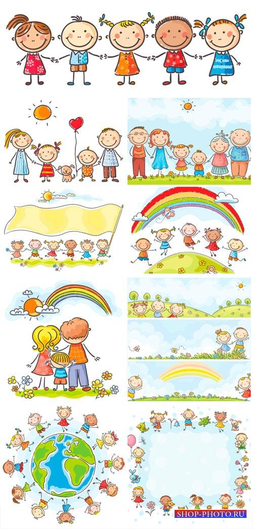 Happy family, children vector