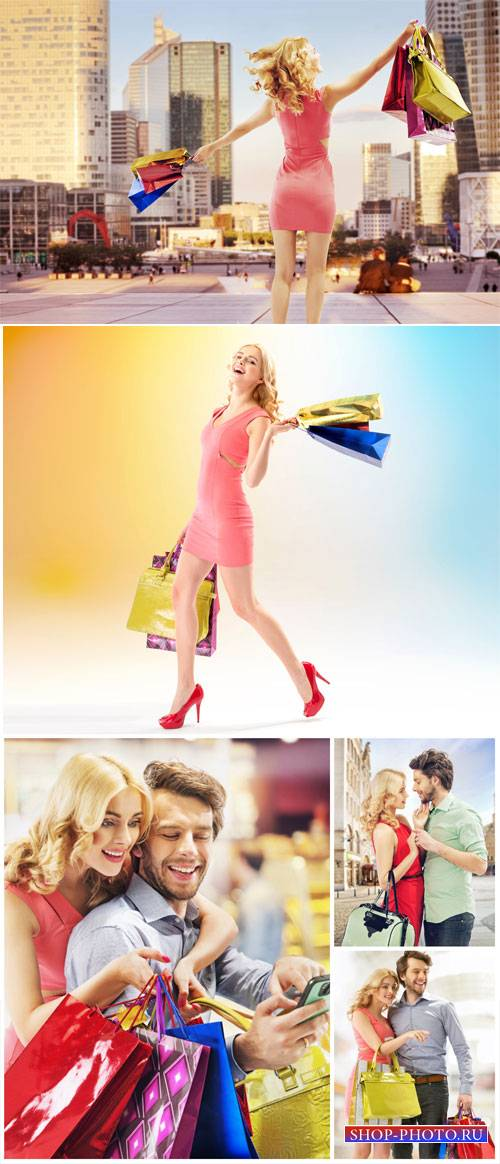Happy couple shopping - stock photos