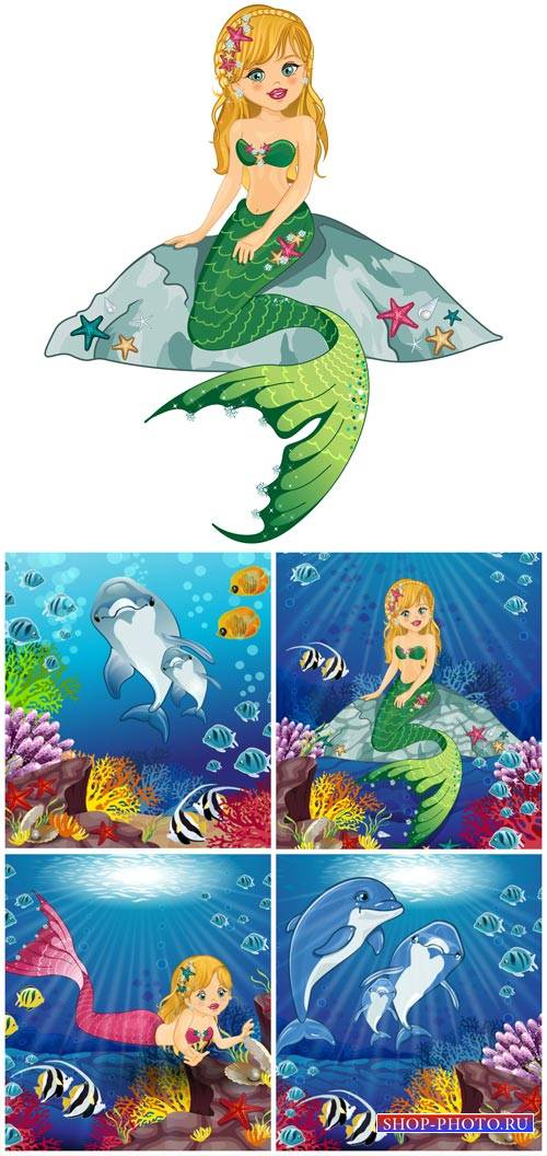 Mermaid and dolphins in the vector