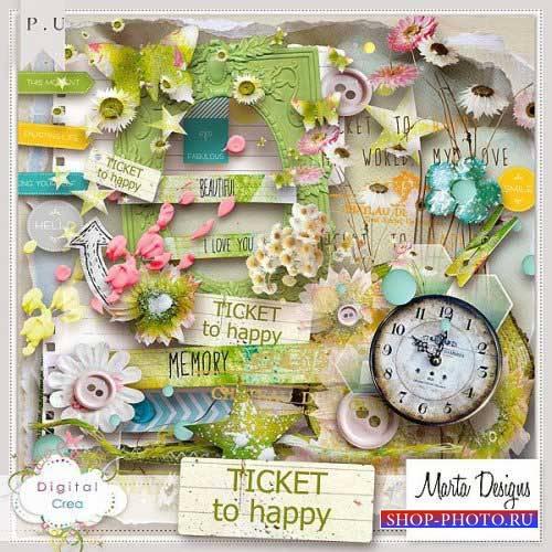 Цветочный скрап-комплект - Счастливый билетик
