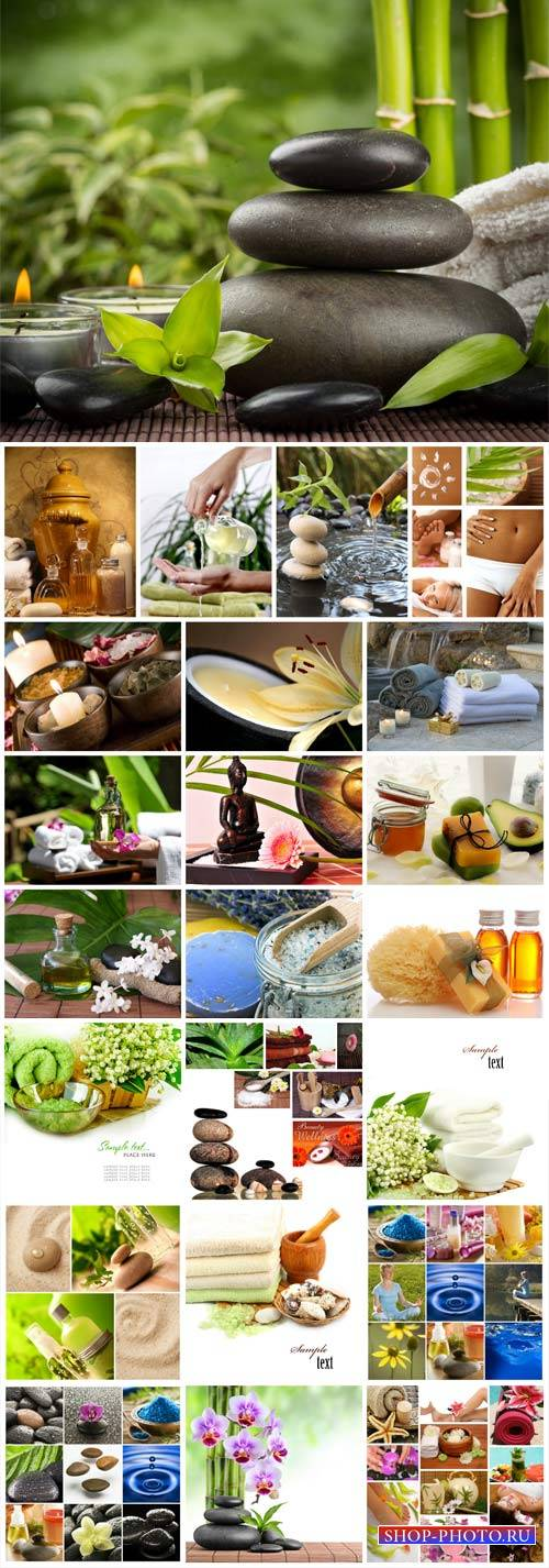 Spa collage, backgrounds with aromatic oils, spa stones and candles - stock photos
