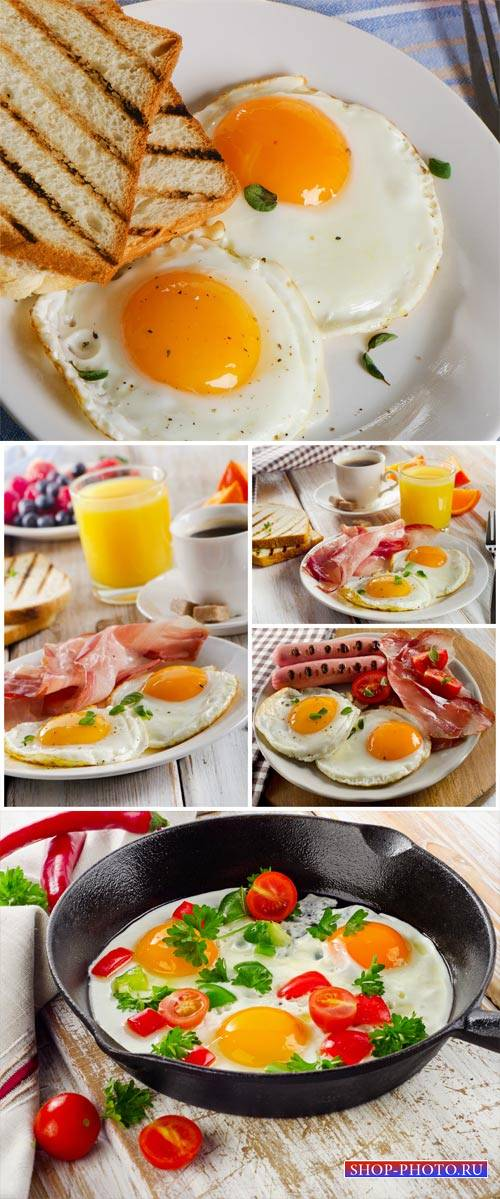 Fried eggs with sausage and toast, breakfast - stock photos