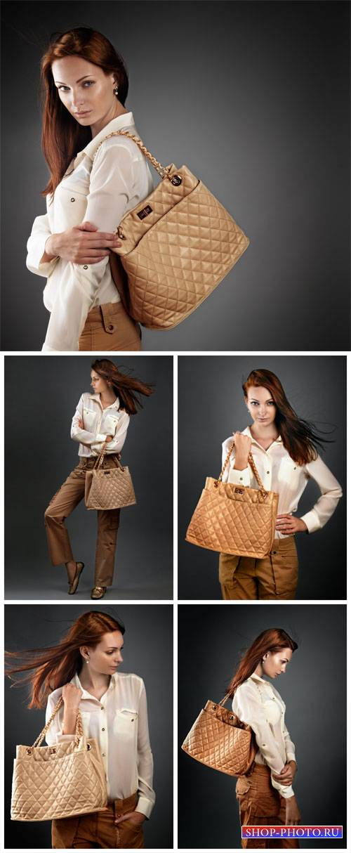 Fashionable girl with a handbag - stock photos