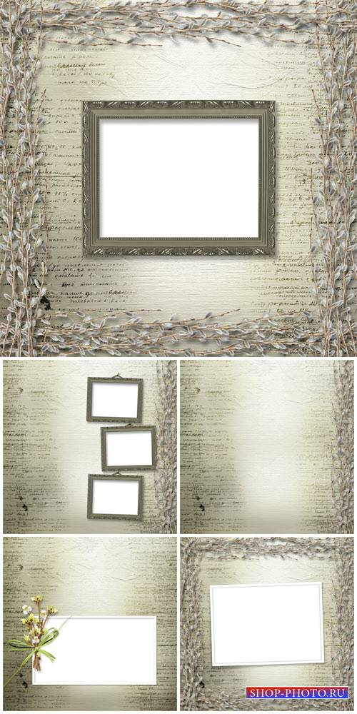 Backgrounds with willow branches spring - stock photos