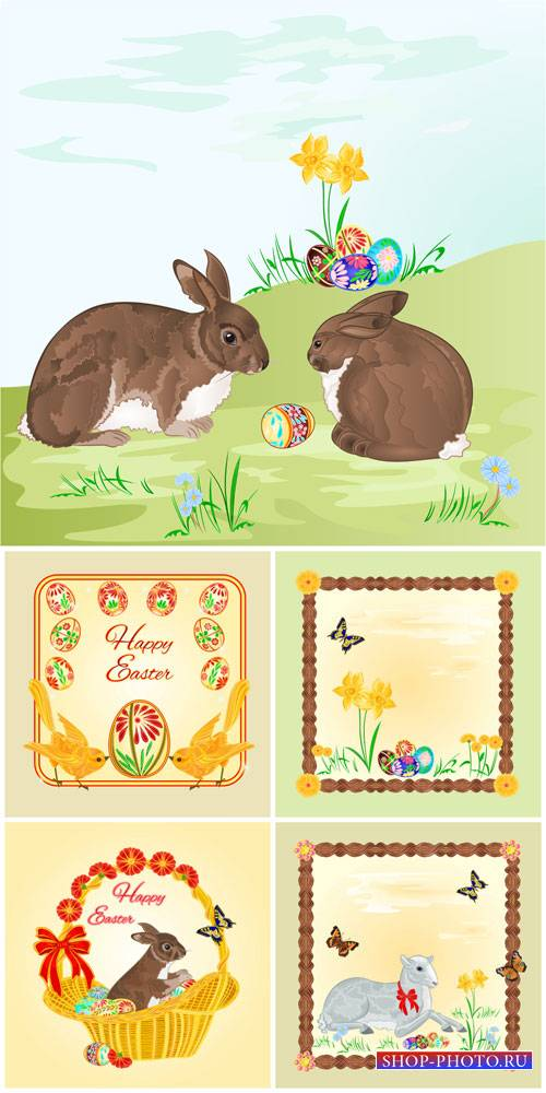 Easter vector basket with Easter eggs and rabbit