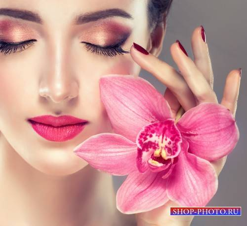 Beautiful girl with orchids and roses - stock photos