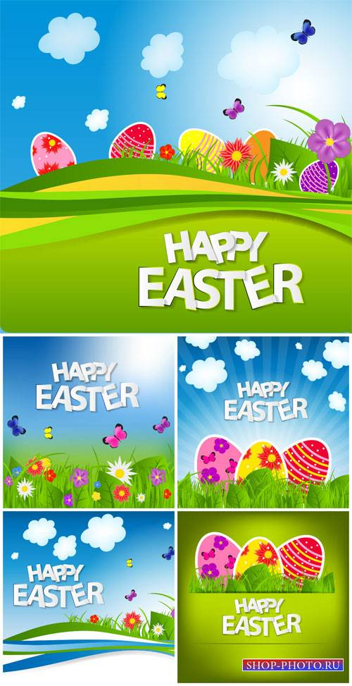Vector easter, easter eggs, flowers and butterflies