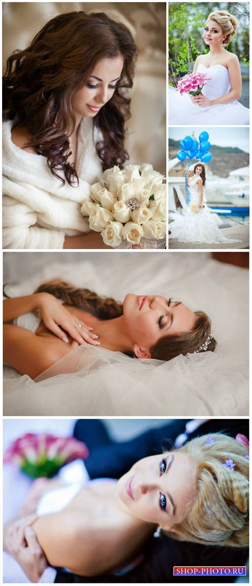 Bride with flowers and balloons - stock photos
