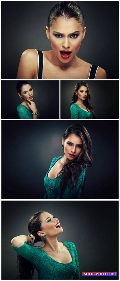 Beautiful girl in a green dress - stock photos