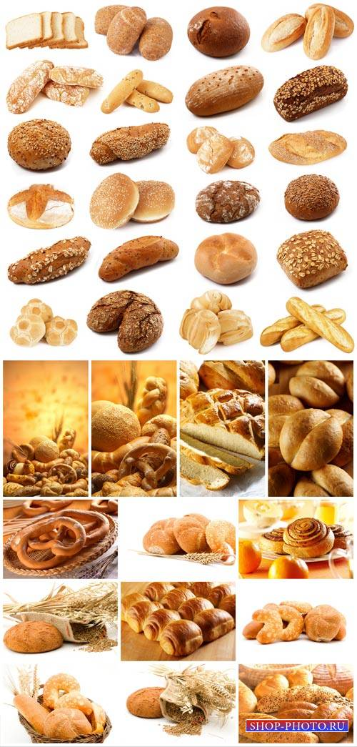 Flour products, bread, rolls, pastries - stock photos