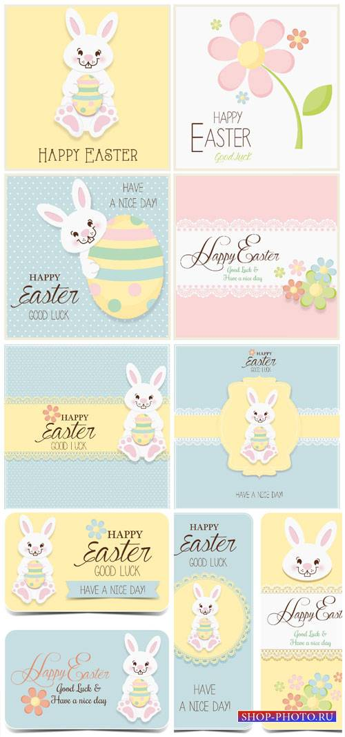 Easter vector, Easter eggs and rabbit, holiday cards