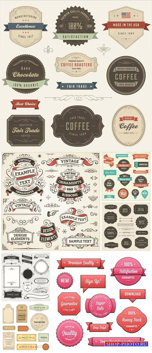 Labels vector, vintage