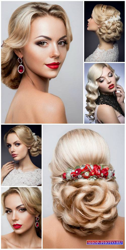 Beautiful female hairstyles bride - stock photos