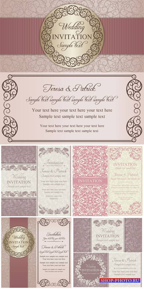 Wedding invitation vector, vintage background with patterns