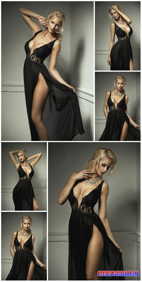 Blonde in a long black dress - Stock Photo
