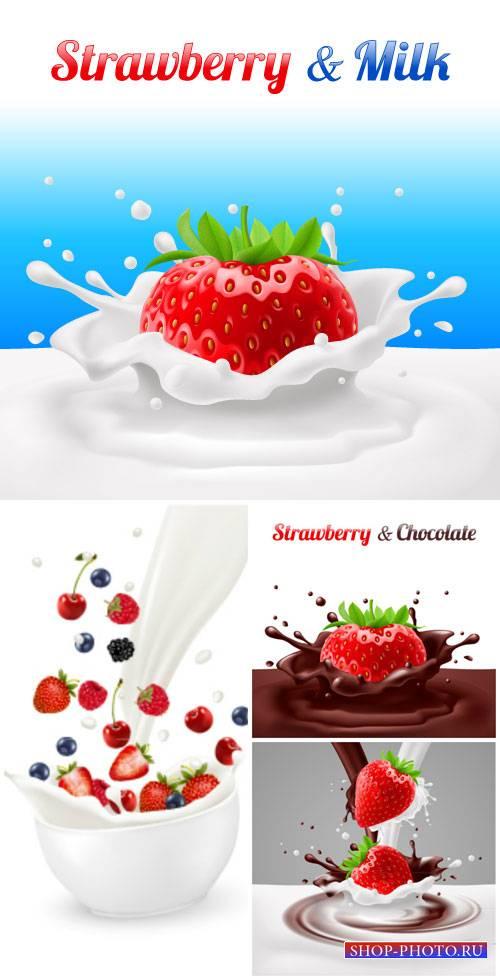 Milk and berries vector, strawberries, blueberries, raspberries