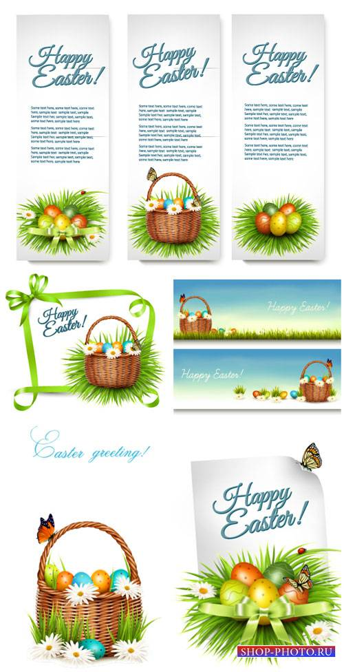 Easter vector banners with easter eggs and flowers