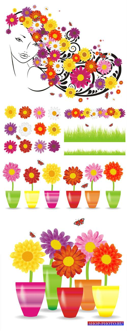 Flowers, girl with flowers vector