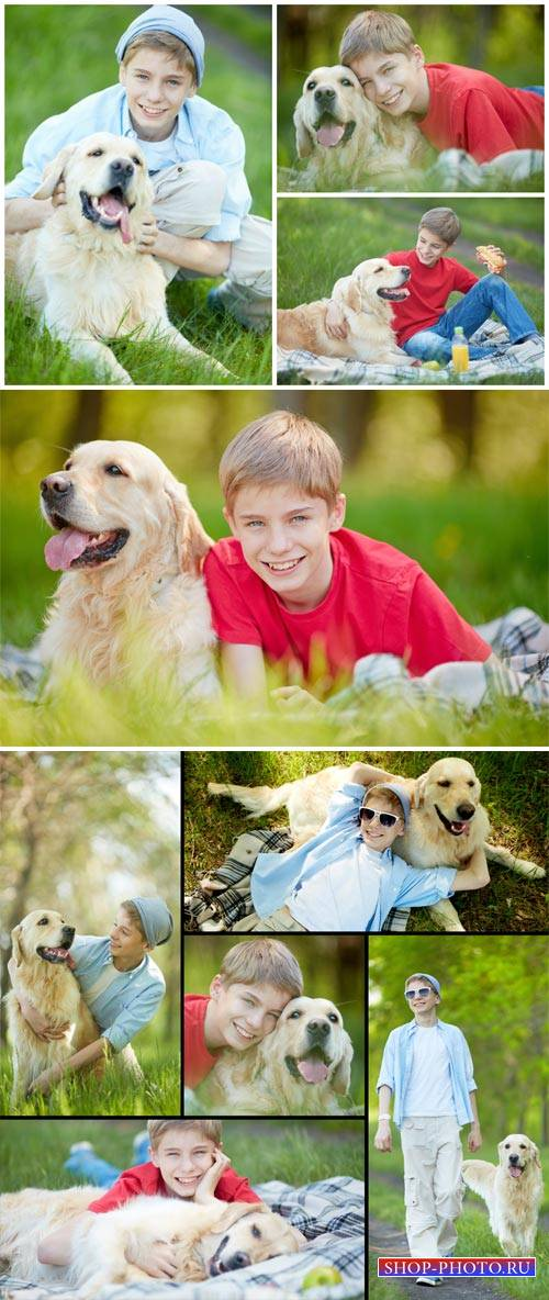 Boy with a dog in nature - stock photos