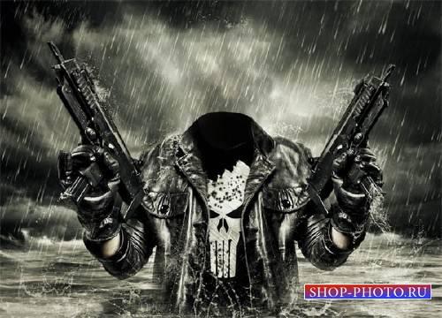 PSD шаблон для мужчин - В воде с оружием