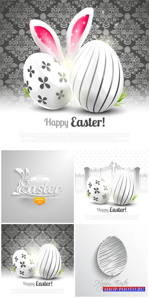 Happy Easter, silver easter eggs vector