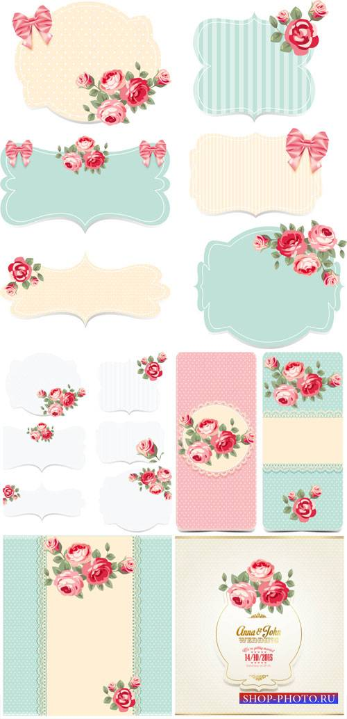 Vintage vector background with roses and cards