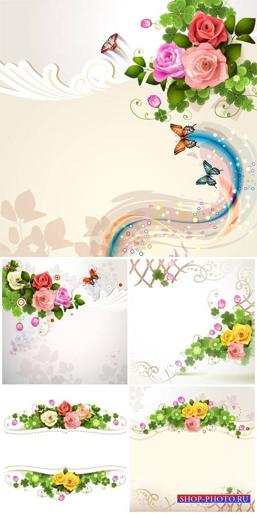 Beautiful vector background with roses and ornaments