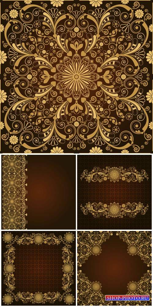 Golden patterns, vintage backgrounds vector