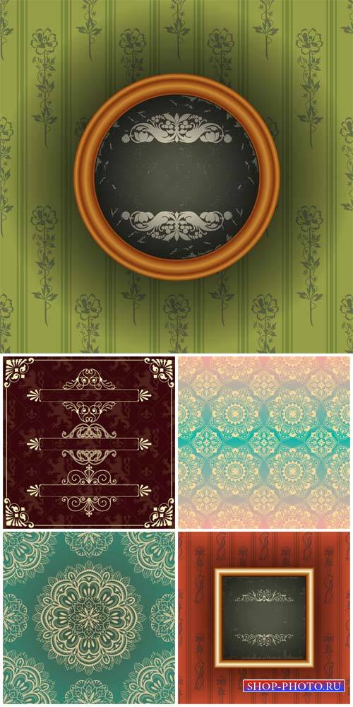 Vintage backgrounds vector, floral patterns,