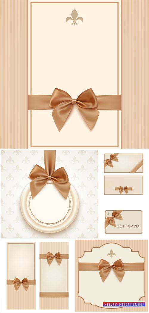 Vector backgrounds and cards with brown ribbons