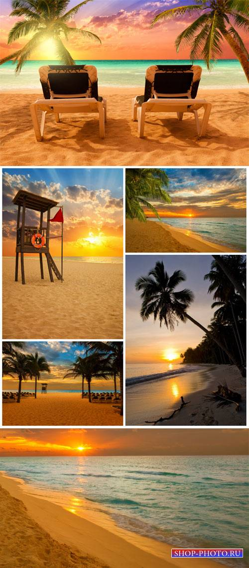 Marine sunset, landscape - stock photos