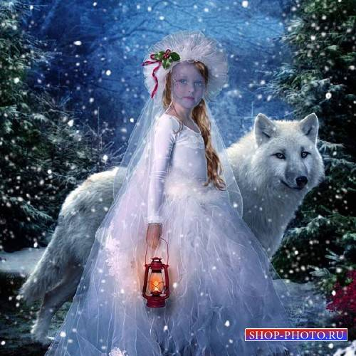 Шаблон psd - Ночью в лесу с большим волком