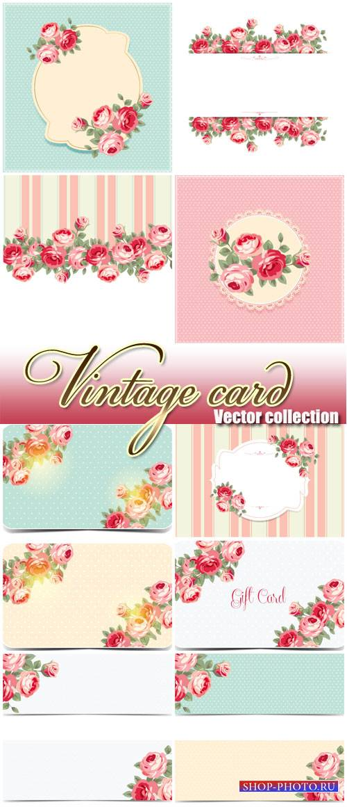 Vintage card in vector backgrounds with roses