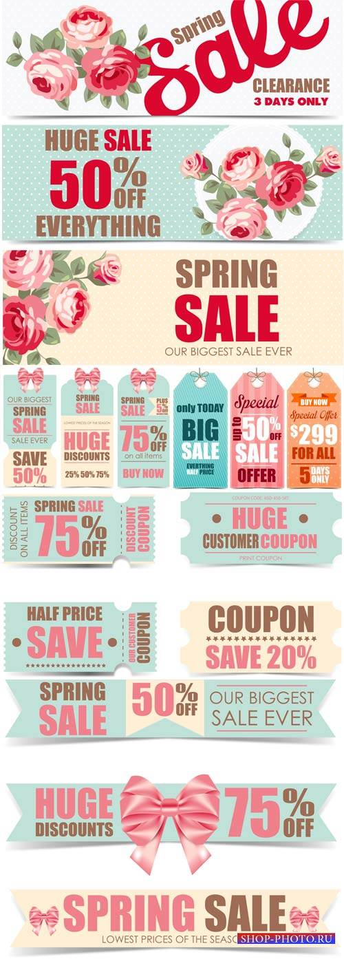 Spring sale, vector labels with roses
