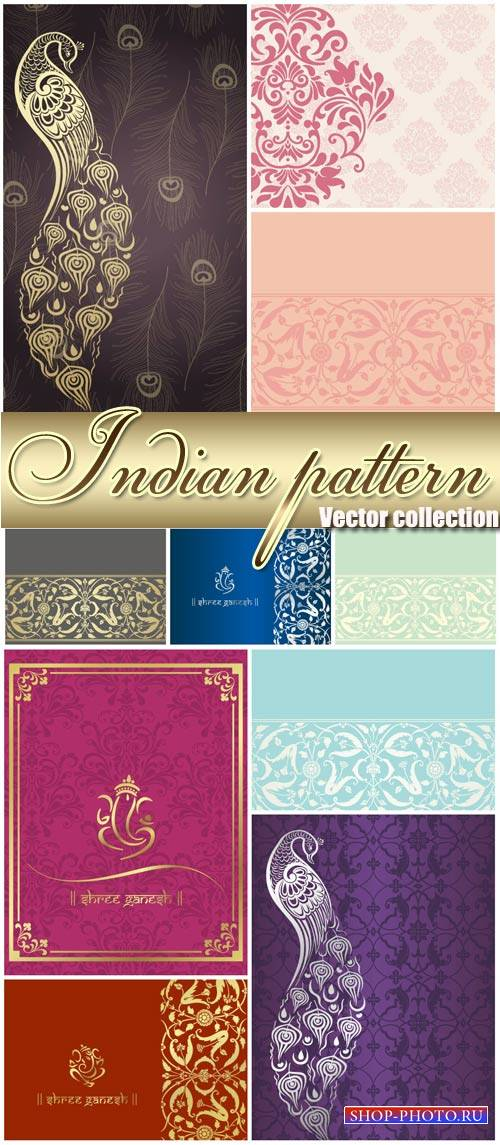 Indian patterns, vector backgrounds with ornaments