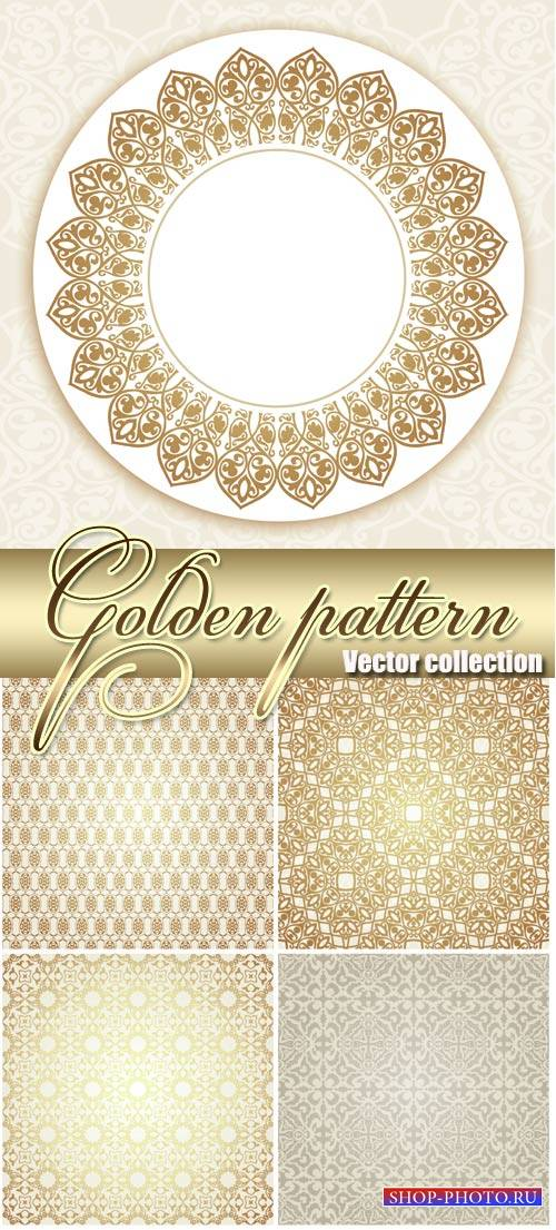 Golden patterns, vintage backgrounds vector #2