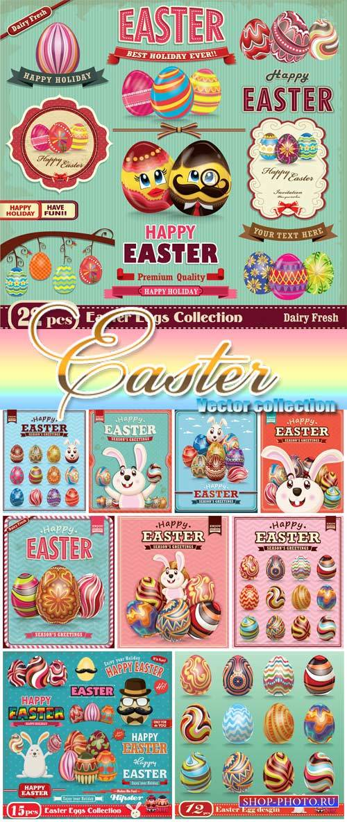 Happy Easter, easter vector vintage collection