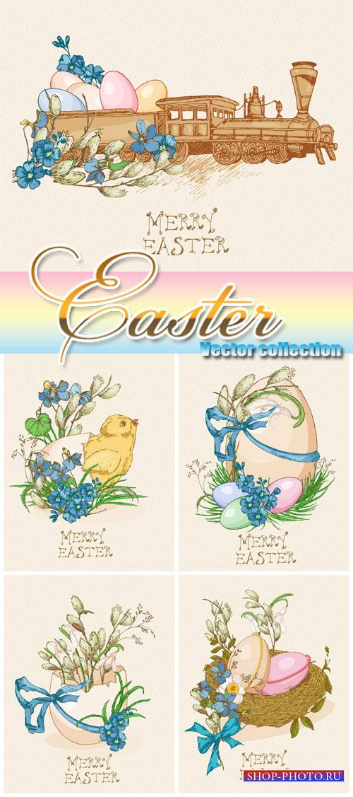 Vector Easter, easter eggs, bunnies and flowers in vintage style