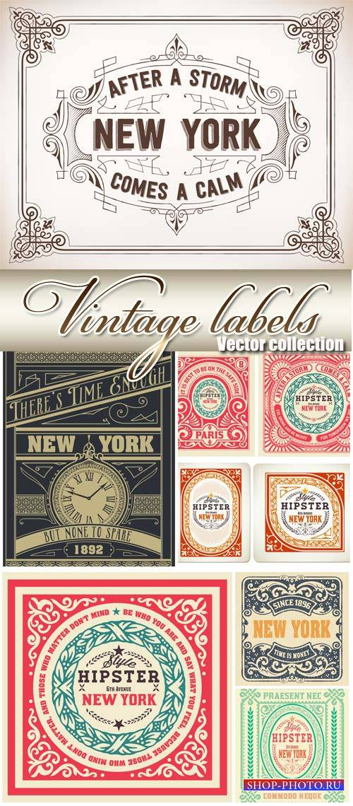 Vintage labels vector, New York City