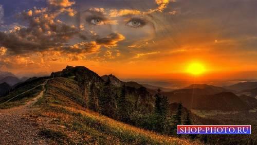 Фоторамка - Закат солнца на фоне гор